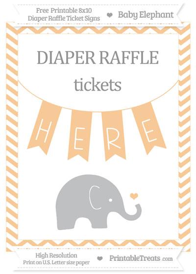 Free Pastel Light Orange Chevron Baby Elephant 8x10 Diaper Raffle Ticket Sign