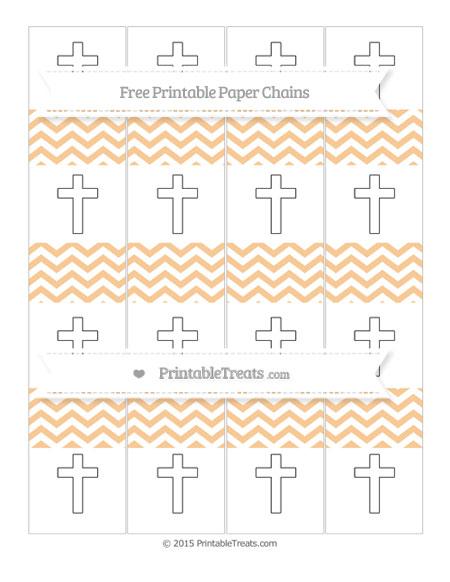 Free Pastel Light Orange Chevron Cross Paper Chains