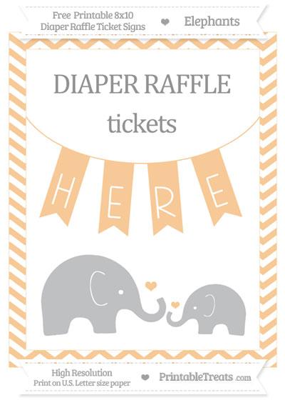 Free Pastel Light Orange Chevron Elephant 8x10 Diaper Raffle Ticket Sign