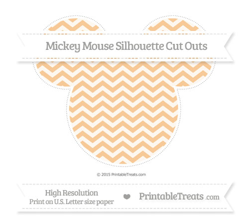Free Pastel Light Orange Chevron Extra Large Mickey Mouse Silhouette Cut Outs