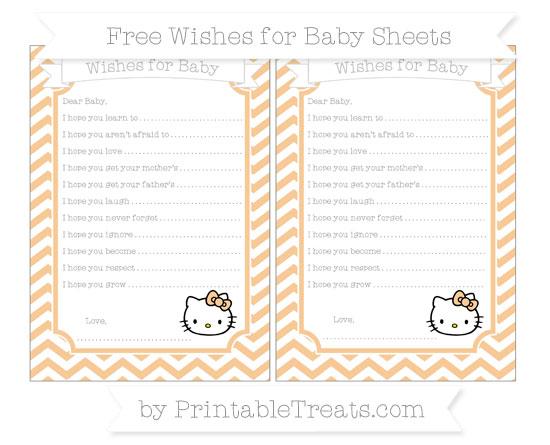 Free Pastel Light Orange Chevron Hello Kitty Wishes for Baby Sheets