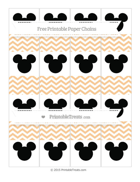 Free Pastel Light Orange Chevron Mickey Mouse Paper Chains