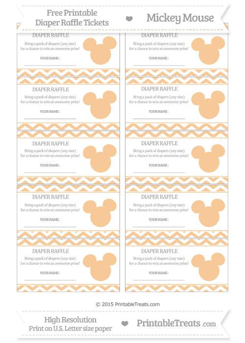 Free Pastel Light Orange Chevron Mickey Mouse Theme Diaper Raffle Tickets