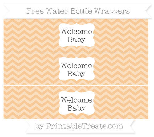 Free Pastel Light Orange Chevron Welcome Baby Water Bottle Wrappers