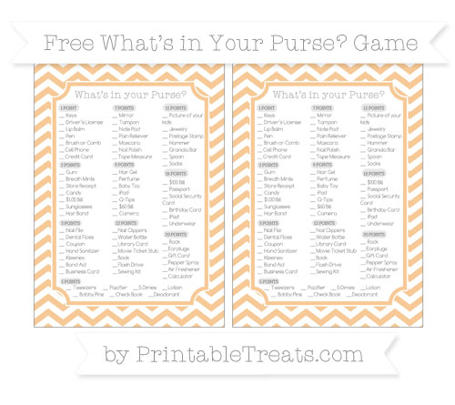 Free Pastel Light Orange Chevron What's in Your Purse Baby Shower Game