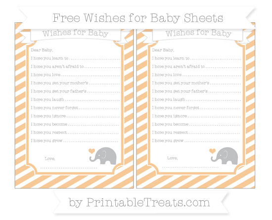 Free Pastel Light Orange Diagonal Striped Baby Elephant Wishes for Baby Sheets