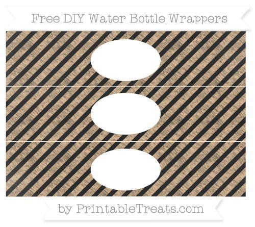 Free Pastel Light Orange Diagonal Striped Chalk Style DIY Water Bottle Wrappers