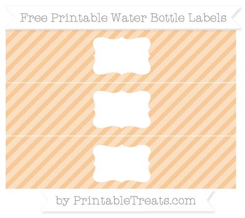 Free Pastel Light Orange Diagonal Striped Water Bottle Labels