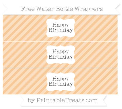 Free Pastel Light Orange Diagonal Striped Happy Birhtday Water Bottle Wrappers