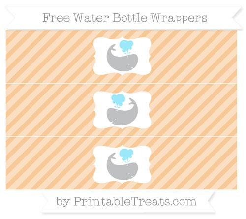 Free Pastel Light Orange Diagonal Striped Whale Water Bottle Wrappers