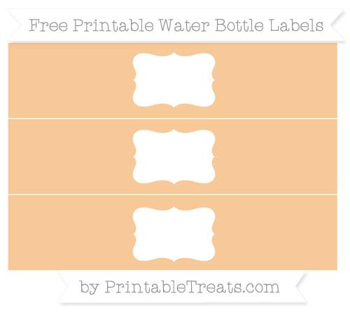 Free Pastel Light Orange Water Bottle Labels