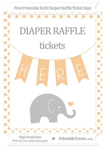 Free Pastel Light Orange Dotted Baby Elephant 8x10 Diaper Raffle Ticket Sign
