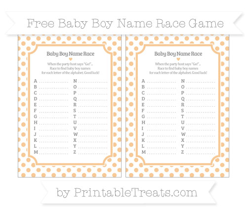 Free Pastel Light Orange Dotted Pattern Baby Boy Name Race Game