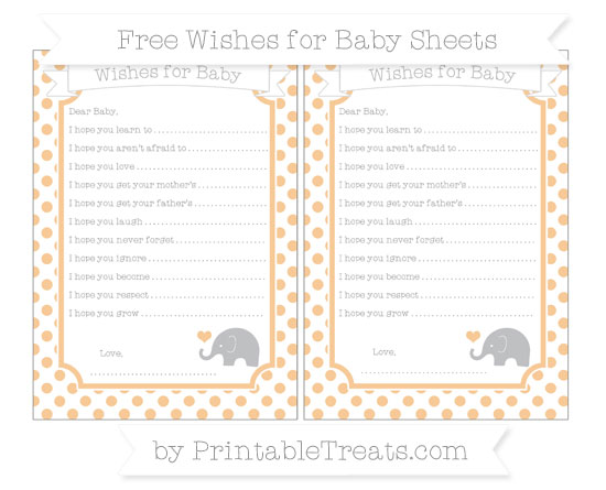 Free Pastel Light Orange Dotted Pattern Baby Elephant Wishes for Baby Sheets
