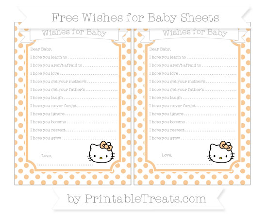 Free Pastel Light Orange Dotted Pattern Hello Kitty Wishes for Baby Sheets