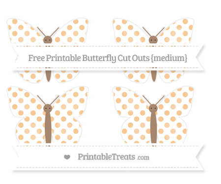 Free Pastel Light Orange Dotted Pattern Medium Butterfly Cut Outs
