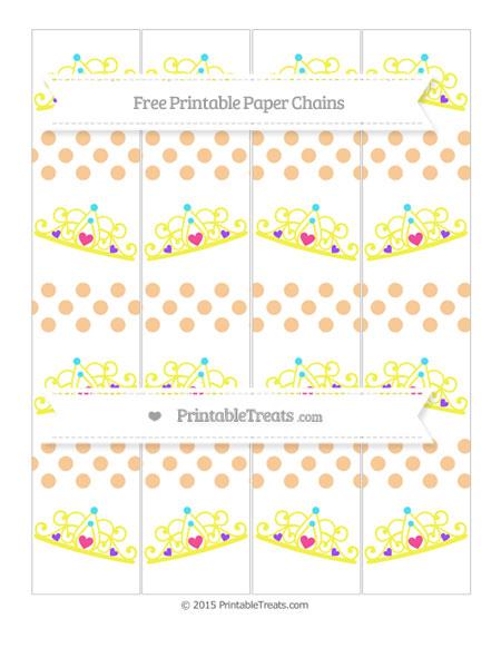 Free Pastel Light Orange Dotted Pattern Princess Tiara Paper Chains