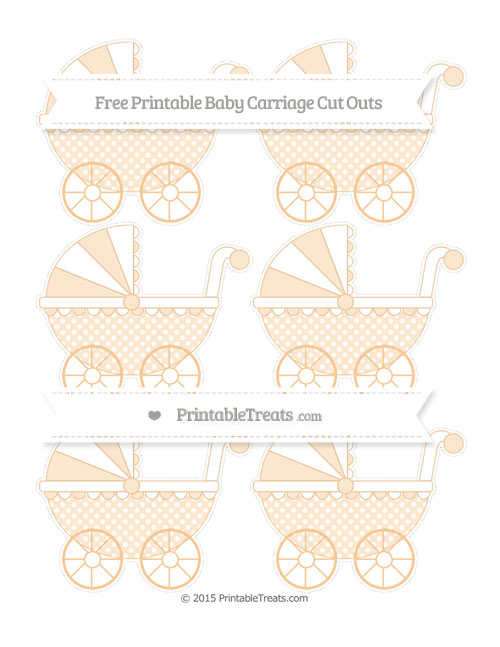 Free Pastel Light Orange Dotted Pattern Small Baby Carriage Cut Outs