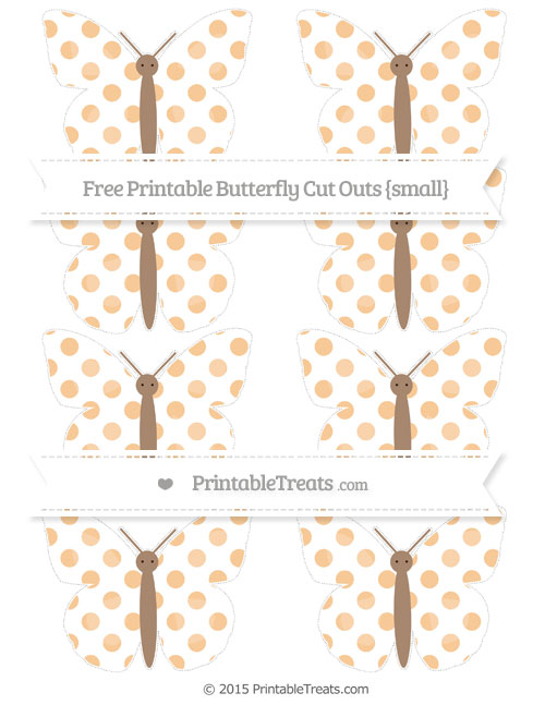 Free Pastel Light Orange Dotted Pattern Small Butterfly Cut Outs