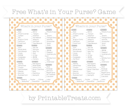 Free Pastel Light Orange Dotted Pattern What's in Your Purse Baby Shower Game