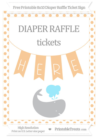 Free Pastel Light Orange Dotted Whale 8x10 Diaper Raffle Ticket Sign