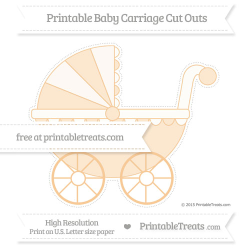 Free Pastel Light Orange Extra Large Baby Carriage Cut Outs