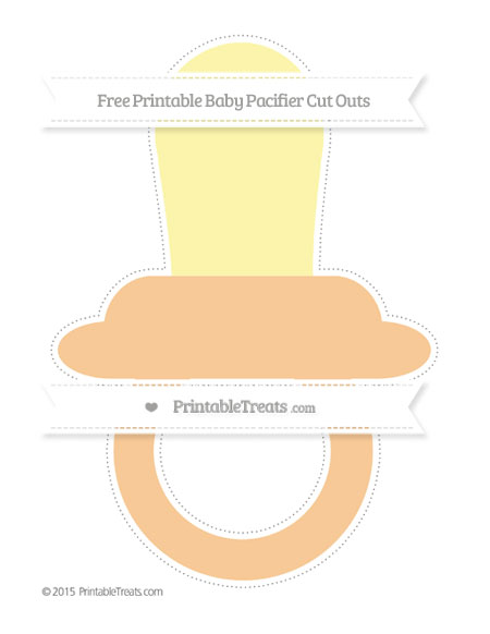 Free Pastel Light Orange Extra Large Baby Pacifier Cut Outs