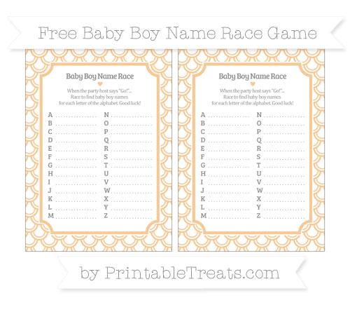 Free Pastel Light Orange Fish Scale Pattern Baby Boy Name Race Game