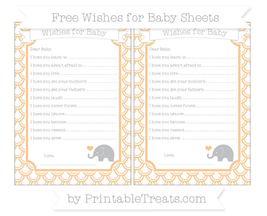 Free Pastel Light Orange Fish Scale Pattern Baby Elephant Wishes for Baby Sheets