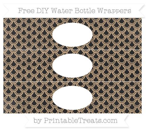 Free Pastel Light Orange Fish Scale Pattern Chalk Style DIY Water Bottle Wrappers