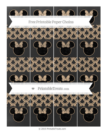 Free Pastel Light Orange Fish Scale Pattern Chalk Style Minnie Mouse Paper Chains