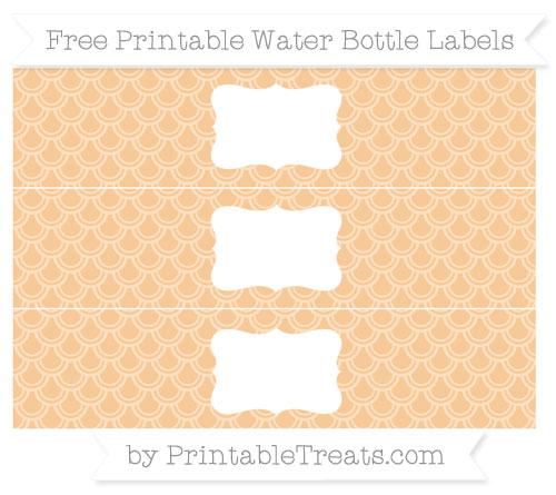 Free Pastel Light Orange Fish Scale Pattern Water Bottle Labels