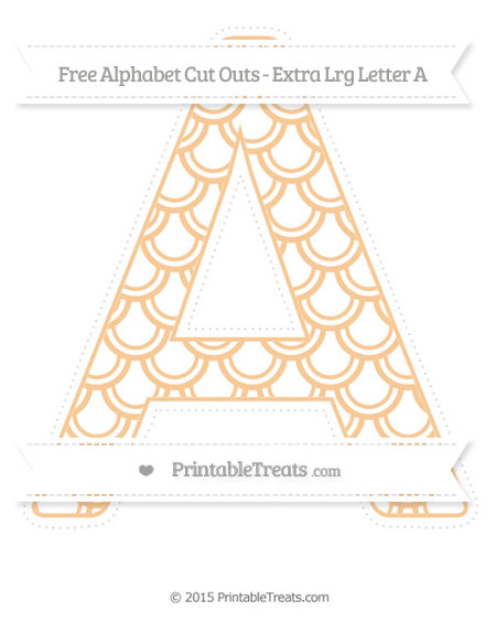 Free Pastel Light Orange Fish Scale Pattern Extra Large Capital Letter A Cut Outs
