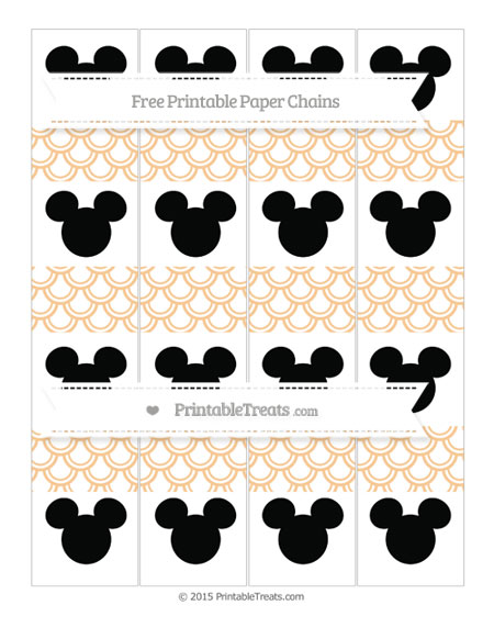 Free Pastel Light Orange Fish Scale Pattern Mickey Mouse Paper Chains