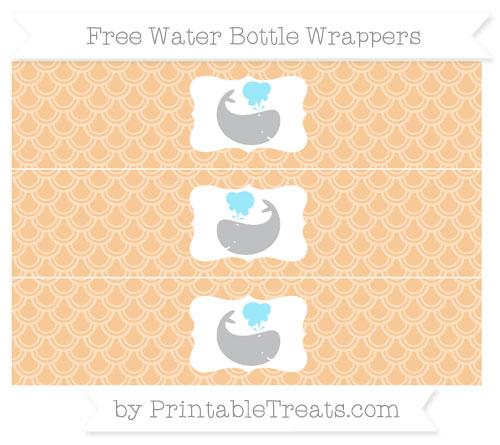 Free Pastel Light Orange Fish Scale Pattern Whale Water Bottle Wrappers