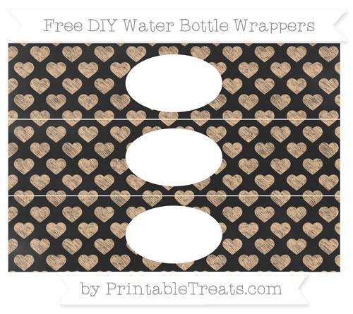 Free Pastel Light Orange Heart Pattern Chalk Style DIY Water Bottle Wrappers