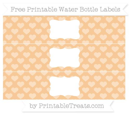 Free Pastel Light Orange Heart Pattern Water Bottle Labels