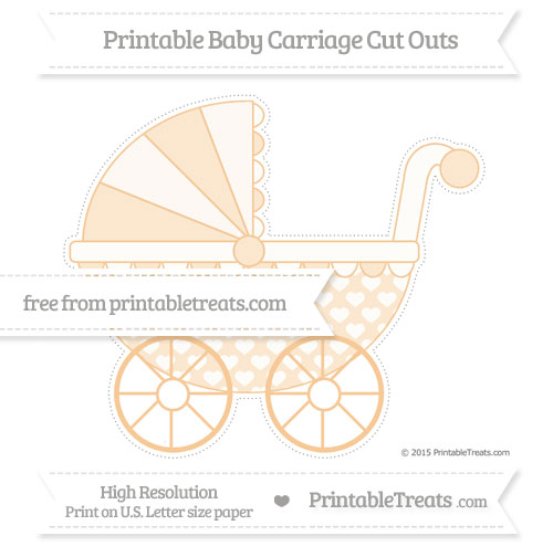 Free Pastel Light Orange Heart Pattern Extra Large Baby Carriage Cut Outs