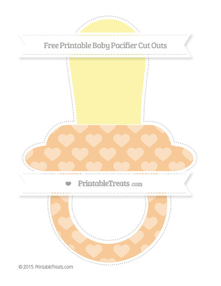 Free Pastel Light Orange Heart Pattern Extra Large Baby Pacifier Cut Outs