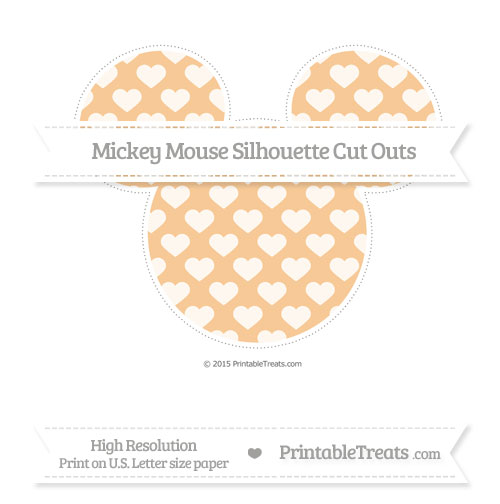 Free Pastel Light Orange Heart Pattern Extra Large Mickey Mouse Silhouette Cut Outs