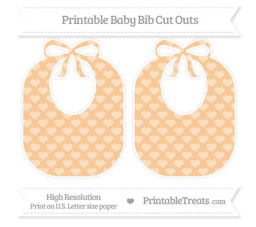 Free Pastel Light Orange Heart Pattern Large Baby Bib Cut Outs