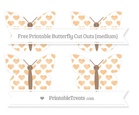 Free Pastel Light Orange Heart Pattern Medium Butterfly Cut Outs