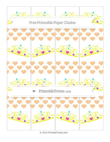 Free Pastel Light Orange Heart Pattern Princess Tiara Paper Chains