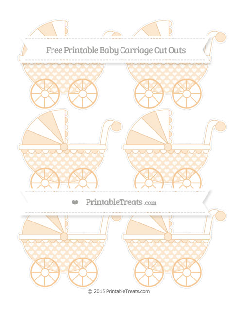 Free Pastel Light Orange Heart Pattern Small Baby Carriage Cut Outs