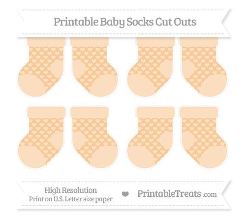 Free Pastel Light Orange Heart Pattern Small Baby Socks Cut Outs