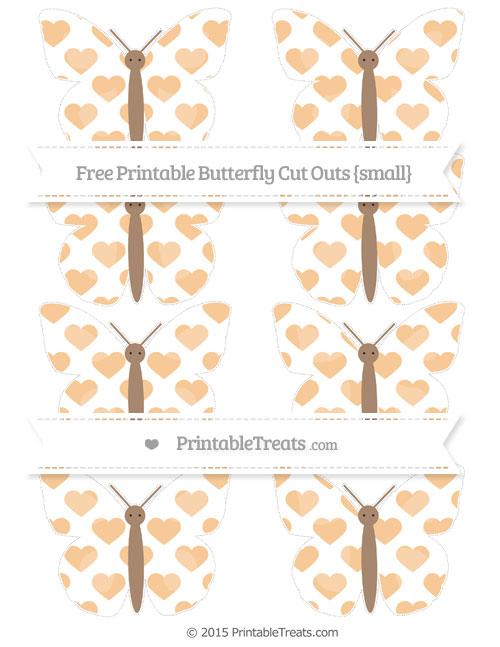 Free Pastel Light Orange Heart Pattern Small Butterfly Cut Outs