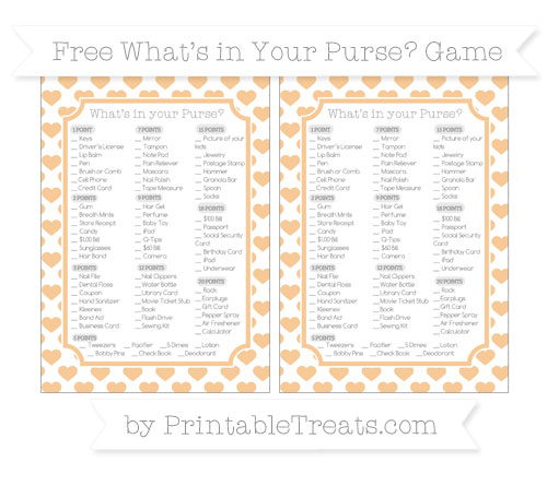 Free Pastel Light Orange Heart Pattern What's in Your Purse Baby Shower Game