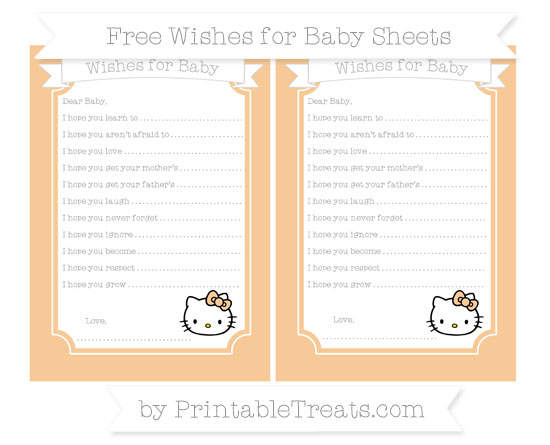 Free Pastel Light Orange Hello Kitty Wishes for Baby Sheets