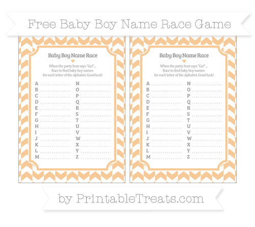 Free Pastel Light Orange Herringbone Pattern Baby Boy Name Race Game