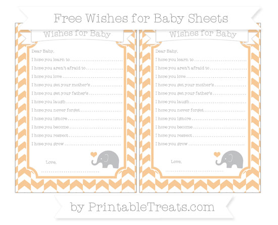 Free Pastel Light Orange Herringbone Pattern Baby Elephant Wishes for Baby Sheets